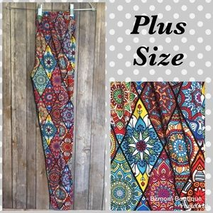 Pants - Plus Size Stained Glass Leggings